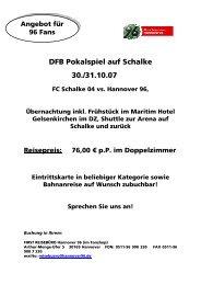 Flyer DFB Maritim Hotel - Hannover 96