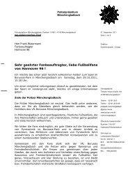 kommt Ihr zum Fanbrief der Polizei Mönchengladbach - Hannover 96