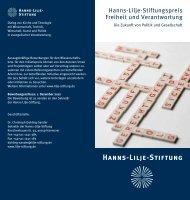 Flyer Stiftungspreis - Hanns-Lilje-Stiftung