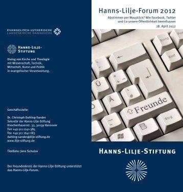 Die Einladung zum Hanns-Lilje-Forum - Hanns-Lilje-Stiftung