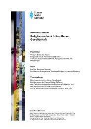 Religionsunterricht in offener Gesellschaft - Hanns-Seidel-Stiftung