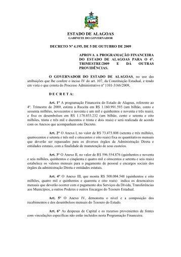 Decreto nº 4.195, de 05/10/2009 - Sefaz - AL