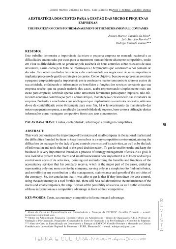 REVISTA TERRA E CULTURA - Nº 45 - Ano 23 - Agosto a ... - UniFil