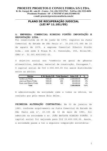 Plano de Recuperação Judicial - Furtado.srv.br