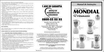 Manual Liquidificador Vitamaxis L-30 L-31 NL-40 NL-41 ... - Mondial