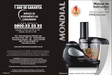 Manual Multi Processador Premium MP-02 12-12 Rev03 - Mondial