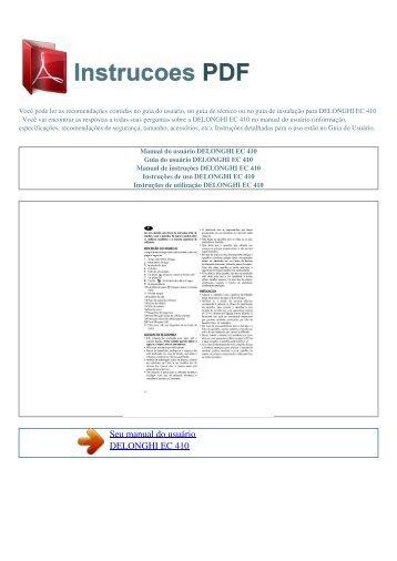 Manual do usuário DELONGHI EC 410 - INSTRUCOES PDF