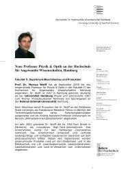 Neue Professur Physik & Optik an der Hochschule für Angewandte ...