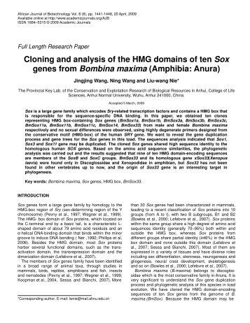 Cloning and analysis of the HMG domains of ten Sox genes from ...