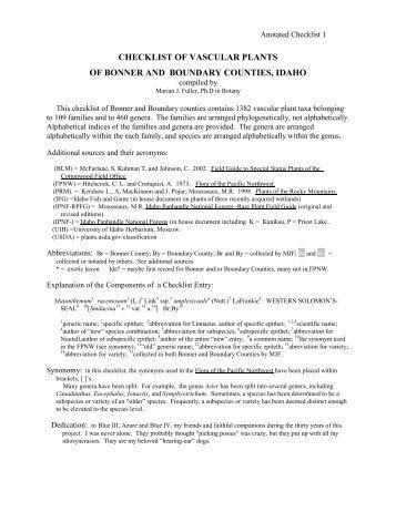 checklist of vascular plants of bonner and boundary - Kinnikinnick ...