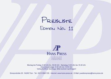 Montag bis Freitag: 9.00 Uhr bis 18.30 Uhr · Samstag ... - Hans Press