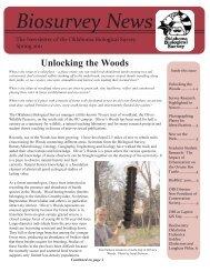 Biosurvey News - Oklahoma Biological Survey - University of ...