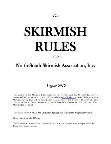 August 2012 - The North-South Skirmish Association, Inc.