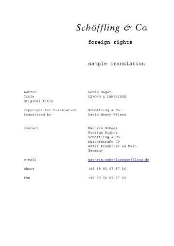 foreign rights sample translation - Schöffling & Co.