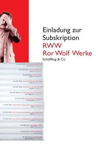 Einladung zur Subskription RWW Ror Wolf Werke - Schöffling & Co.