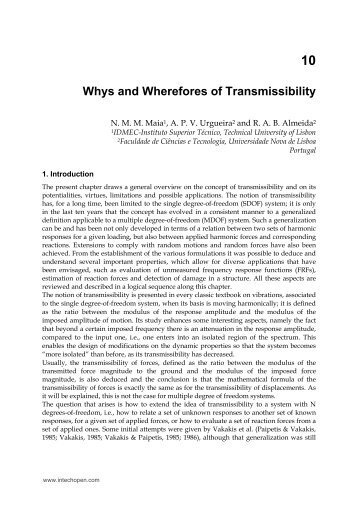 10 Whys and Wherefores of Transmissibility - InTech