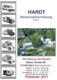 HARDT- 2011 - Hardt Reisemobile (Wohnmobile) Vermietung Köln