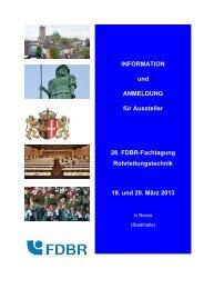 Anmeldung für Aussteller und Anzeigenkunden - FDBR