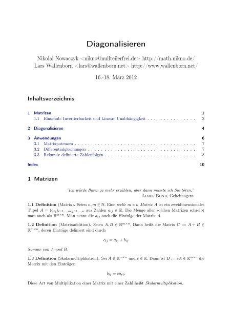 diagonalisieren einer matrix