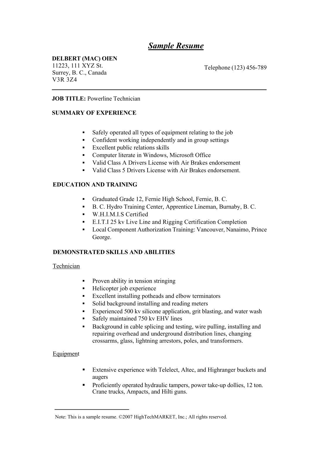 example cover letter engineering apprenticeship air sample resume application for powerline technician example cover letter - Hydro Test Engineer Sample Resume