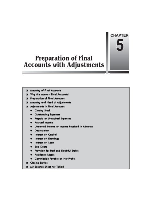 Preparation Of Final Accounts With Adjustments Ebooks