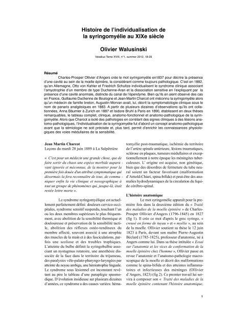 Histoire de l'individualisation de la syringomyélie au XIXe siècle ...