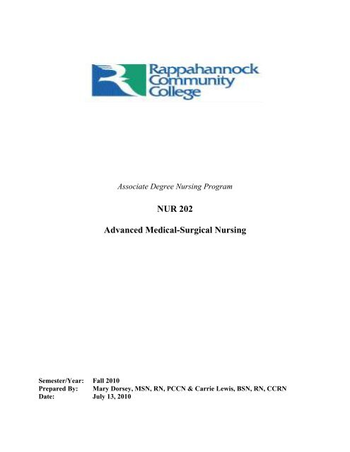 NUR 202 Advanced Medical Surgical Nursing Rappahannock