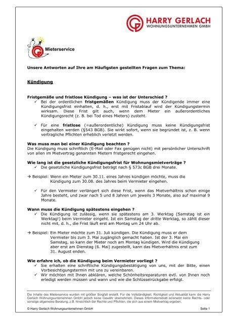 Merkblatt Zur Kundigung Harry Gerlach Wohnungsunternehmen