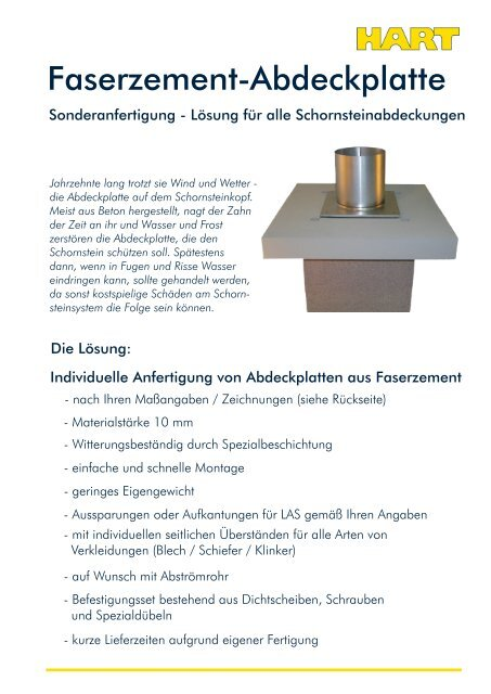 Faserzement-Abdeckplatte - Hart Keramik