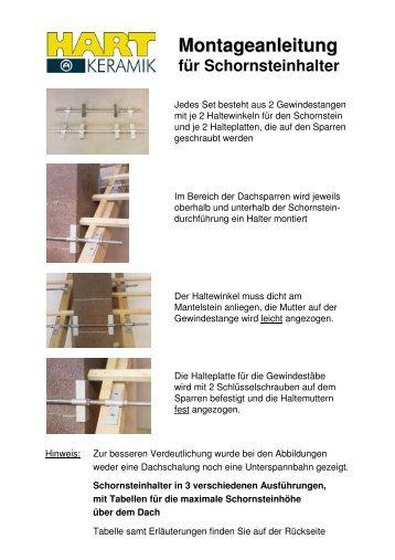 Montageanleitung für Schornsteinhalter - Hart Keramik