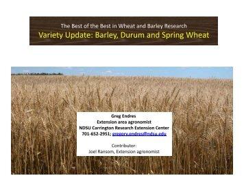 Variety Update: Barley, Durum and Spring Wheat