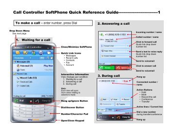 Call Controller SoftPhone Quick Reference Guide - RingCentral