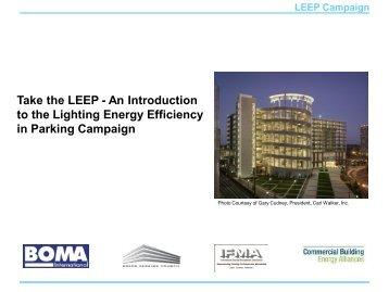Take the LEEP - Lighting Energy Efficiency in Parking Campaign