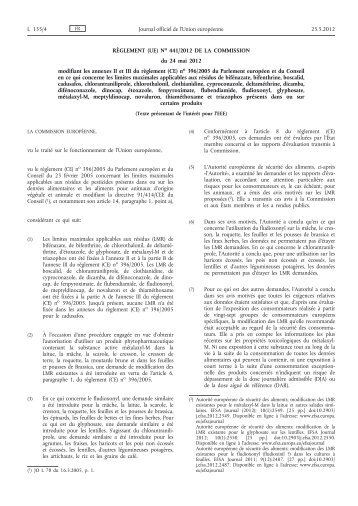 Règlement (UE) no 441/2012 de la Commission du 24 mai 2012 ...