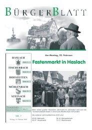 Am Montag, 22. Februar - Haslach