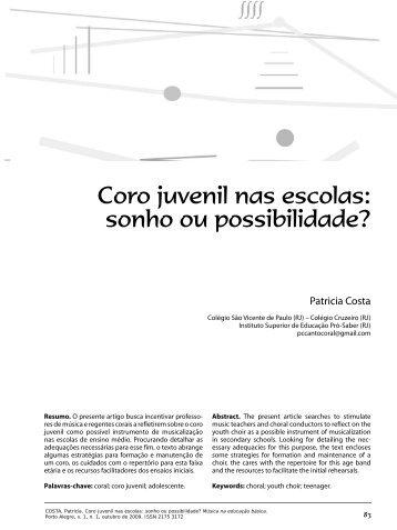 Coro juvenil nas escolas - Associação Brasileira de Educação Musical