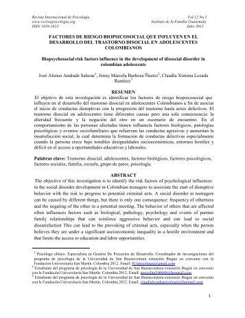 Factores de riesgo biopsicosocial que influyen en el desarrollo del ...