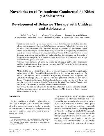 Novedades en el Tratamiento Conductual de Niños - SciELO España