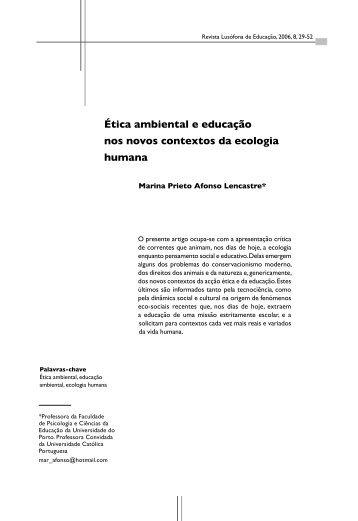 Ética ambiental e educação nos novos contextos da ecologia humana