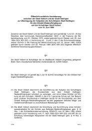 Öffentlich-rechtliche Vereinbarung mit der Stadt Velbert zur - Hattingen