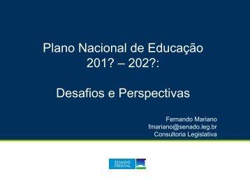 Diálogos Legislativos = Plano Nacional de ... - Senado Federal