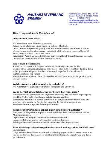 Was ist eigentlich ein Betablocker? - Hausärzteverband Bremen eV