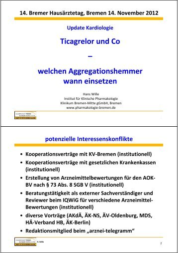 Aggregationshemmer - Hausärzteverband Bremen eV
