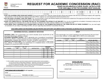 request for academic concession (rac) - Office of the Registrar ...
