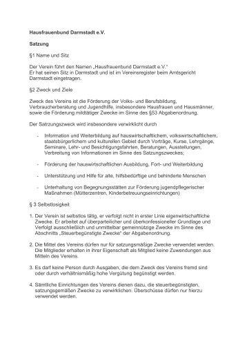Unsere Satzung - Hausfrauenbund  Darmstadt eV