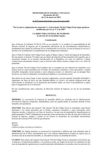 RESOLUCION 201-831. ONG - Dirección General de Ingresos