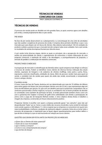 TÉCNICAS DE VENDAS CONCURSO DA CAIXA ... - Editora Ferreira