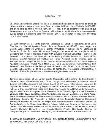 Acta 1200 / 95 - issste