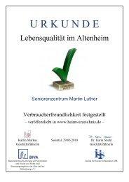 Urkunde fŁr Verbraucherfreundlichkeit - Haus Martin Luther