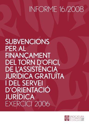 Informe 16/2008 - Generalitat de Catalunya